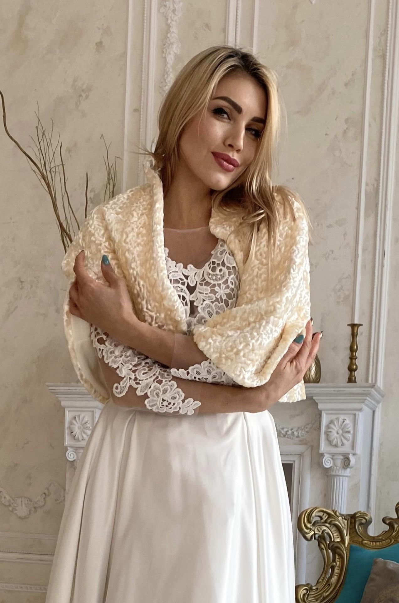 Свадебная накидка горжетка, ПЕЛЕРИНА  карамель